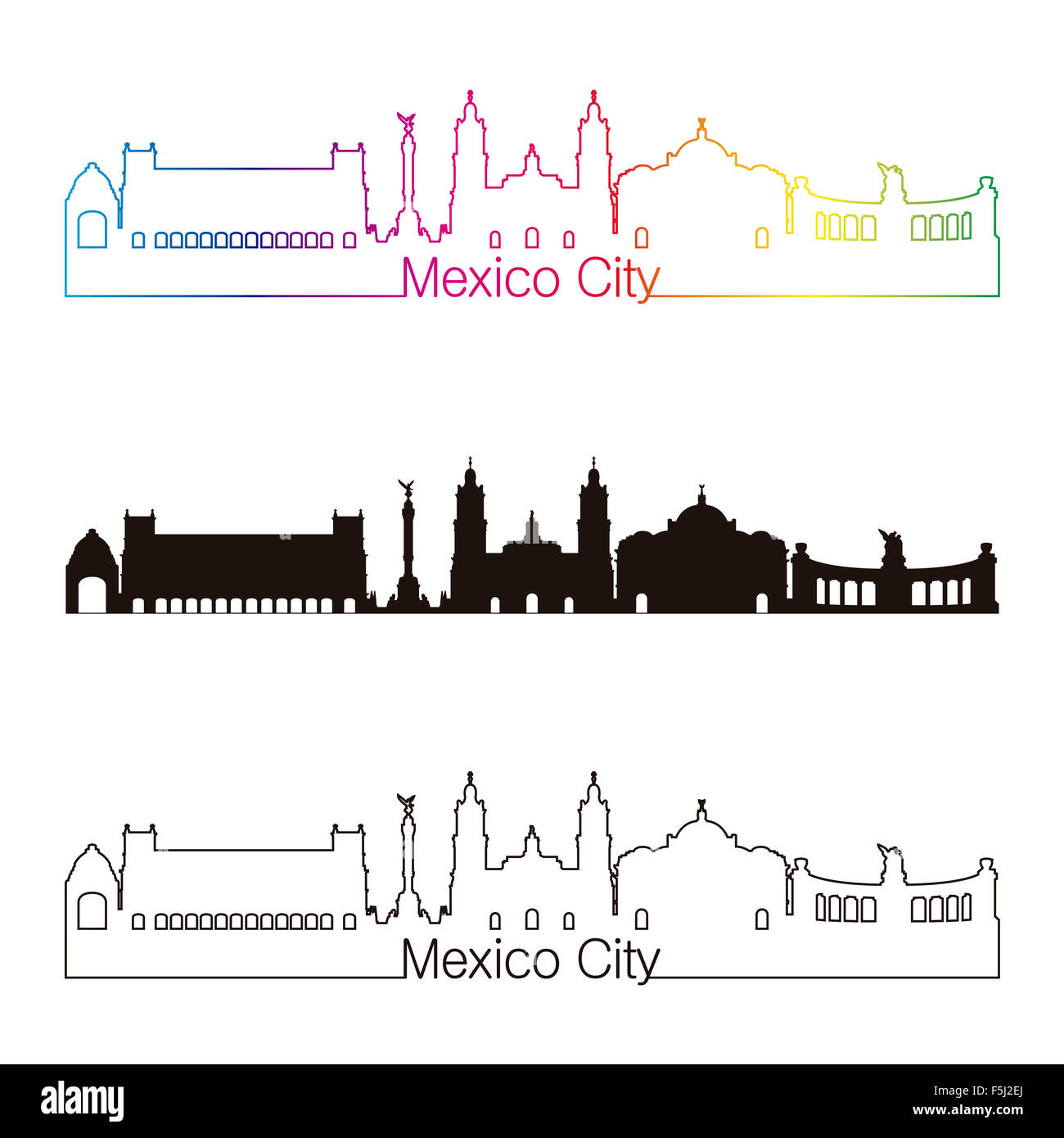 Mexico City skyline linear style with rainbow in editable vector file - Stock Image