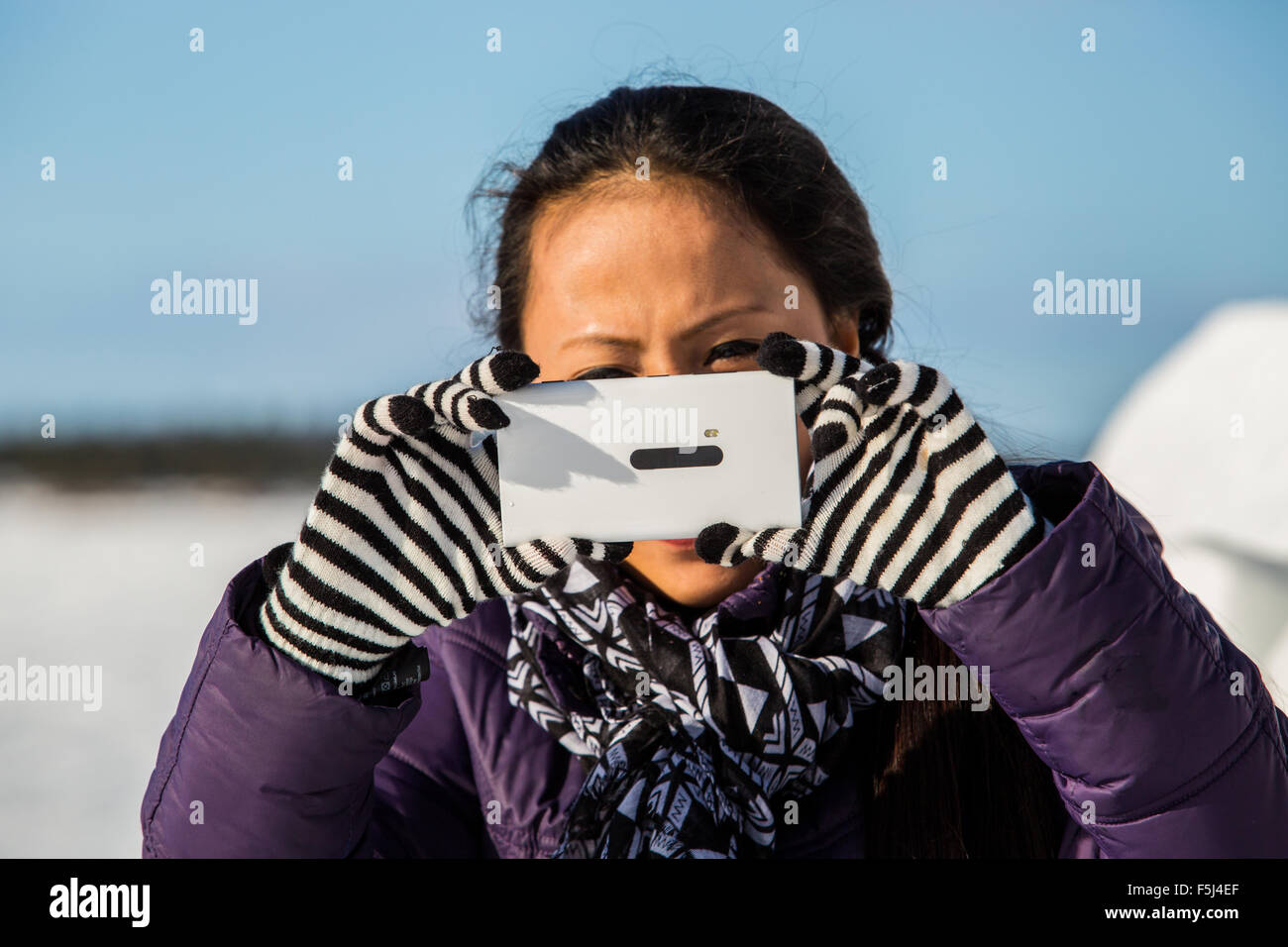 Female outdoor exercise in cold weather in winter Stock Photo