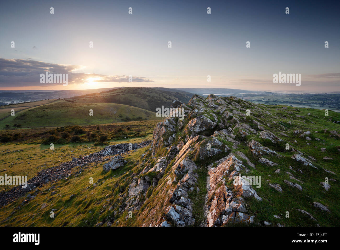 Sunrise over The Mendip Hills, from Crook Peak. Somerset. UK. - Stock Image