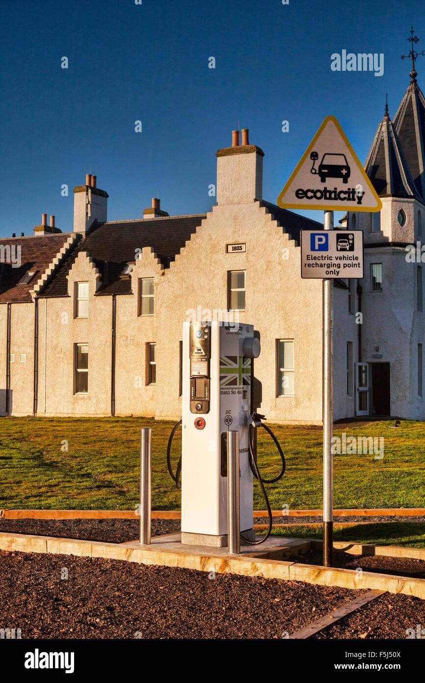 Electric car charging point at John o' Groats. Caithness, Scotland, UK - Stock Image