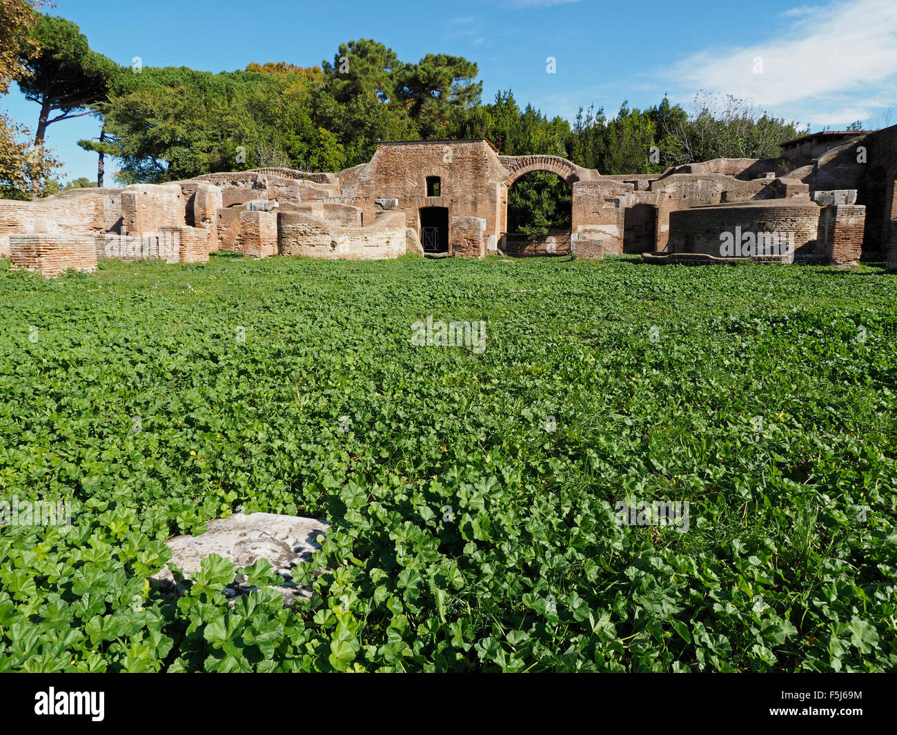 Ostia Antica, Roman warehouse-complex ruins This part was used for storing grain and corn. Near Rome, Italy - Stock Image
