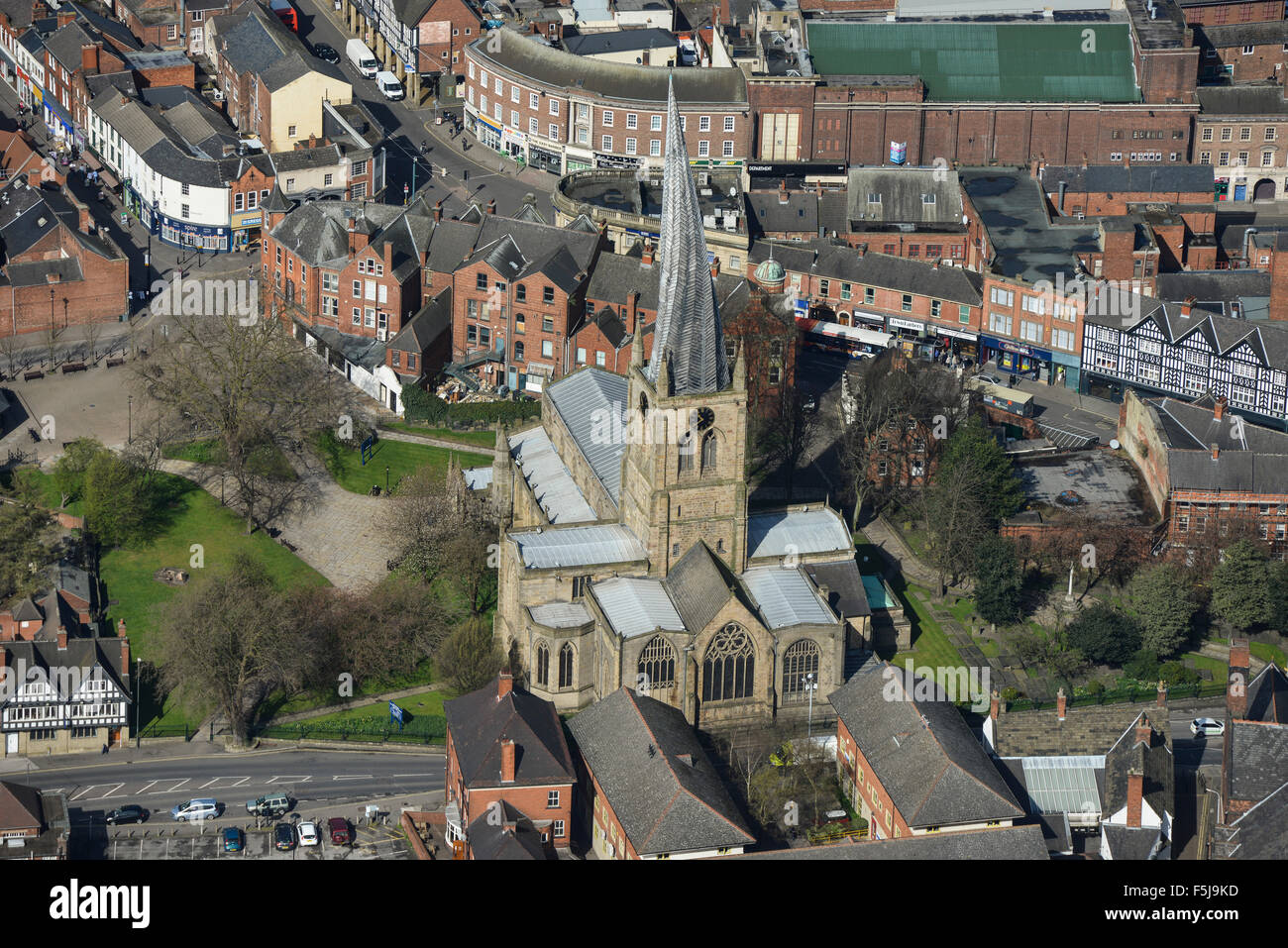 An aerial view of the Church of St Mary and All Saints in Chesterfield, Derbyshire. The famous Crooked Spire - Stock Image