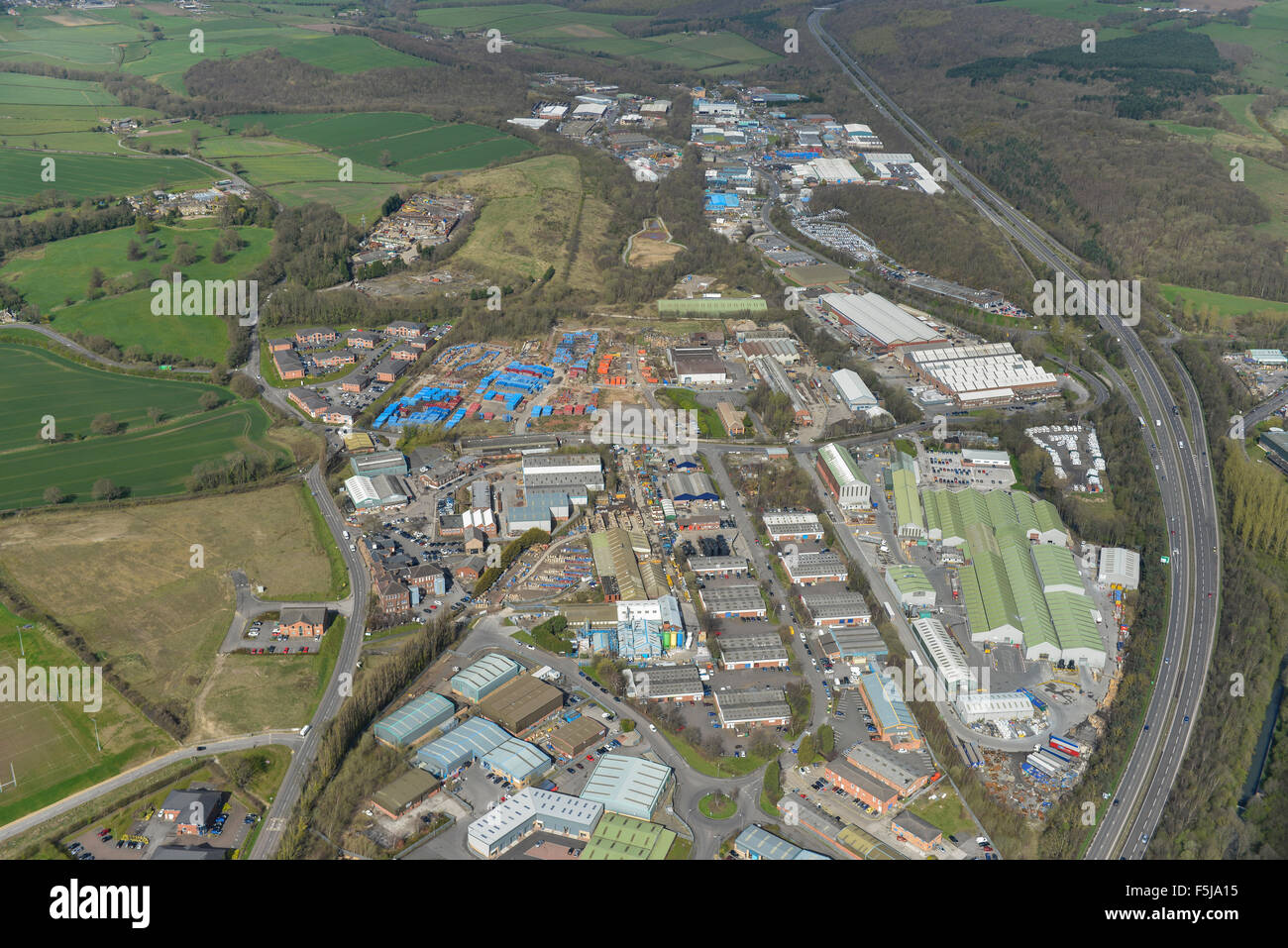 An aerial view of Dunston Trading Estate near Chesterfield in Derbyshire - Stock Image