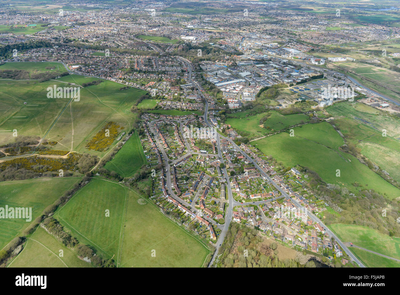 An aerial view of the Essex town of Colchester, the oldest in Britain - Stock Image