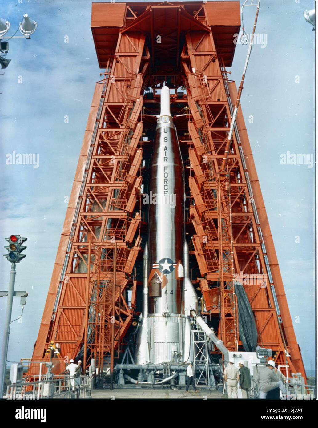 Atlas 21F Details Missile 21F on Launcher; ETR Pad 11 Stock Photo