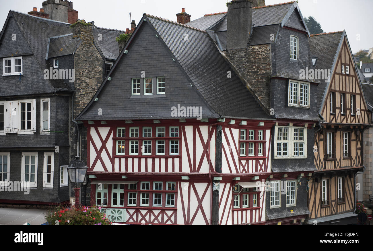 Morlaix, Brittany, France. The market and old buildings. October 2015 - Stock Image
