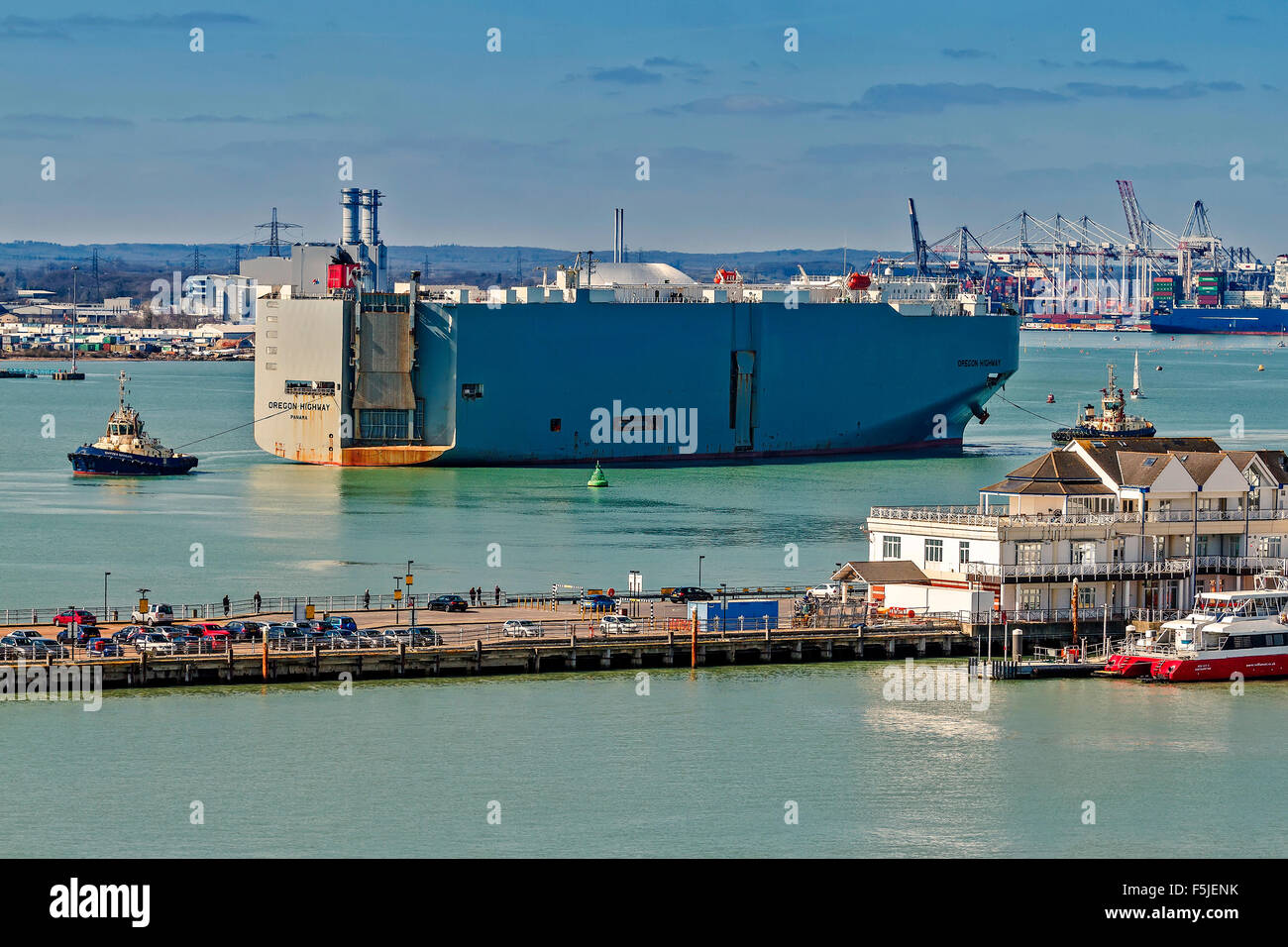 Vehicle carrier Under Tow Southampton UK - Stock Image