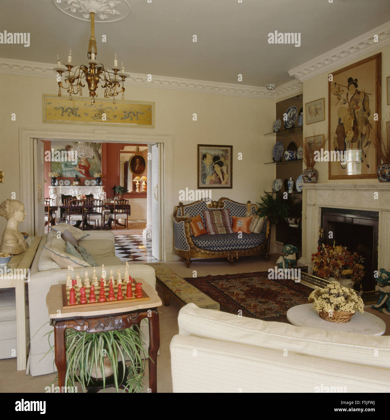 vintage country living rooms. Chess Set On Side Table In An Eighties Country Living Room With Vintage Furniture Rooms U