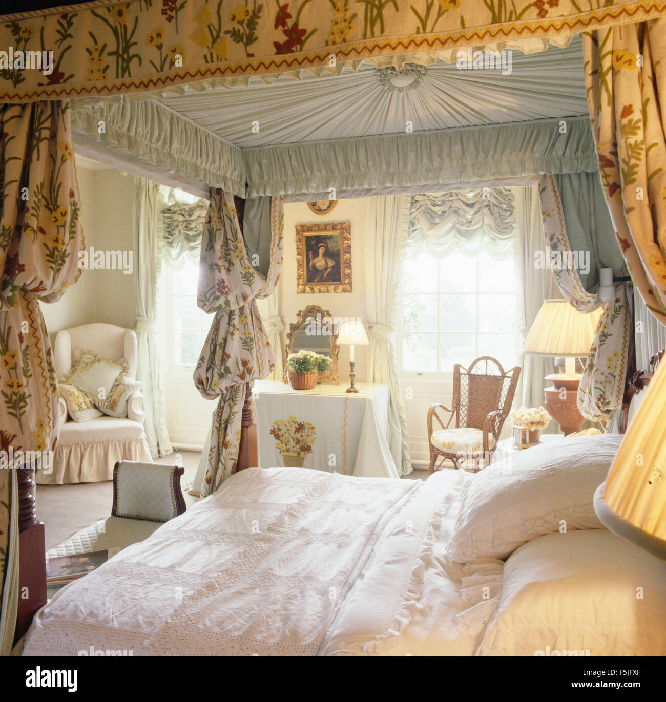 White Vintage Linen On Four Poster Bed With Opulent Drapes In Eighties  Bedroom