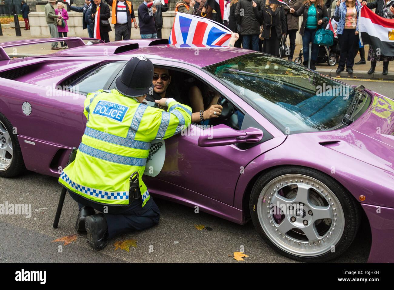 Whitehall, London, November 5th 2015. UK Egyptians demonstrate in support of President Abdel Fatah al-Sisi as supporters - Stock Image