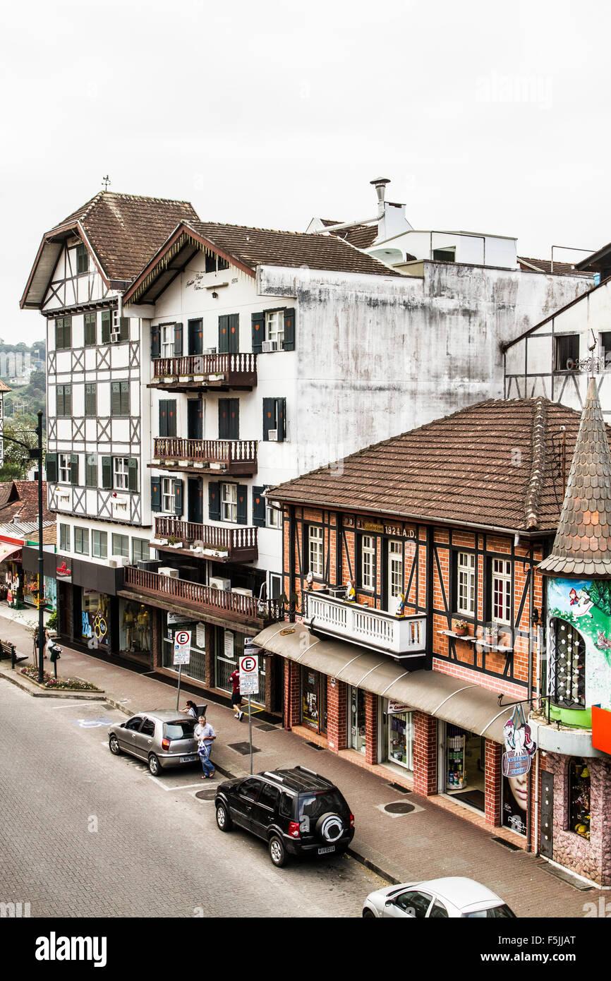 Half timbered buildings in XV de Novembro Street. Blumenau, Santa Catarina, Brazil. - Stock Image