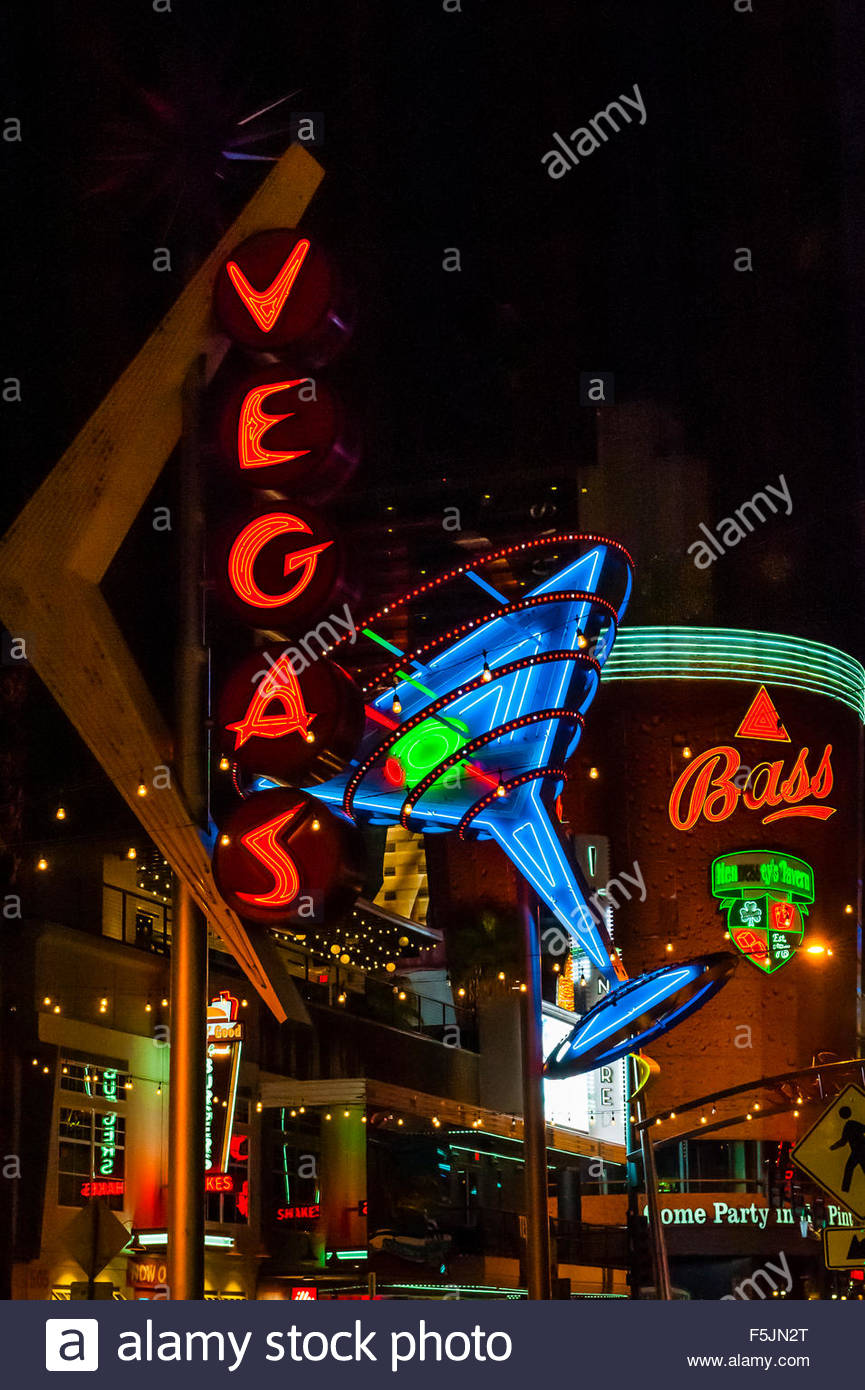 Vegas and Martini Glass neon signs, Downtown Las Vegas, Nevada USA. - Stock Image