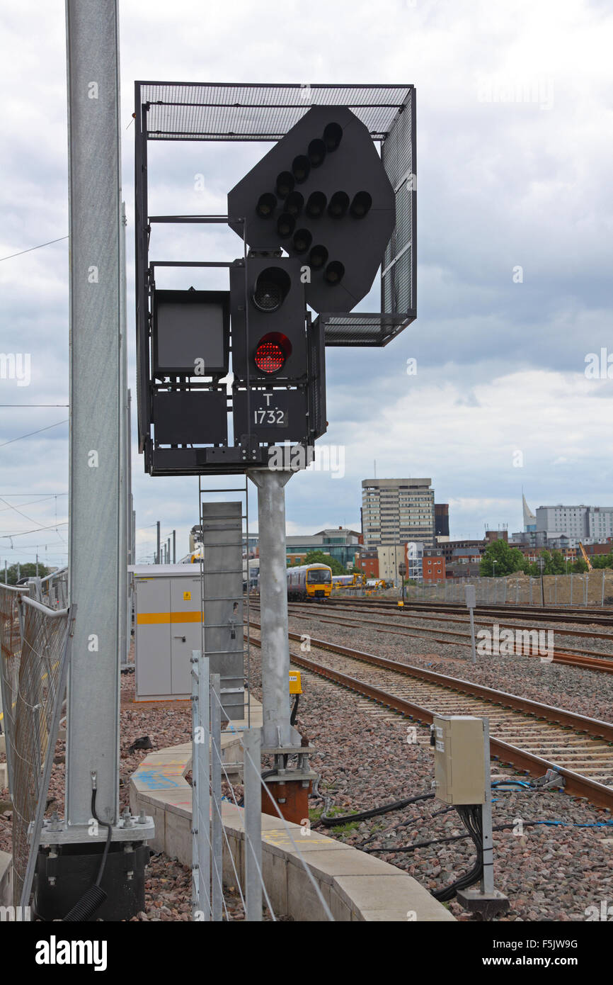 An LED 3 aspect signal with ID number and theatre box with indicators 4 , 5 and 6 for different directions or lines - Stock Image