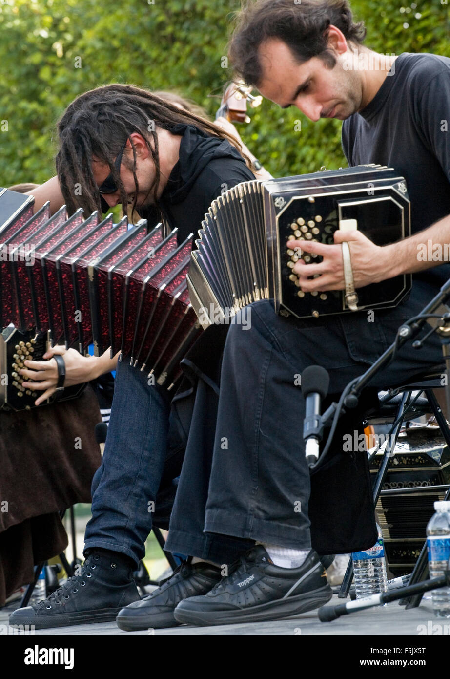 Bandoneon player. The bandoneon is a type of concertina particularly popular in Argentina - Stock Image