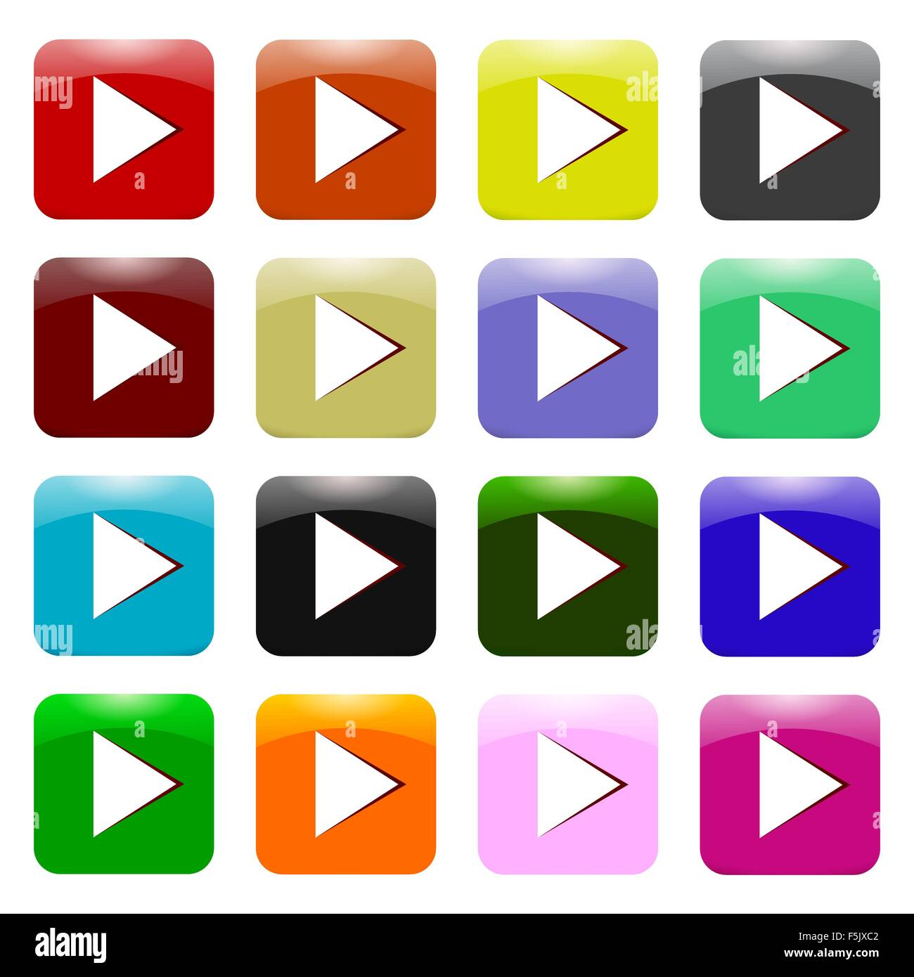 Vector Set of Colorful Play Icons Stock Vector