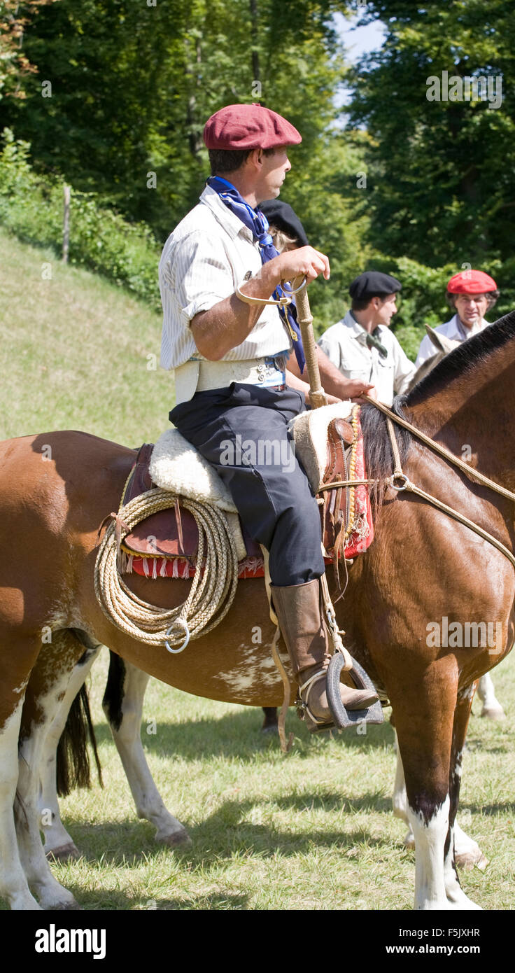 Gaucho in his horse in Argentina - Stock Image