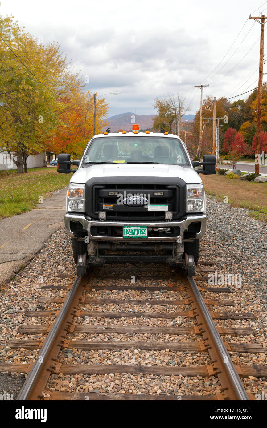 A car adapted to run on rails, on a railtrack, Waterbury, Vermont USA - Stock Image