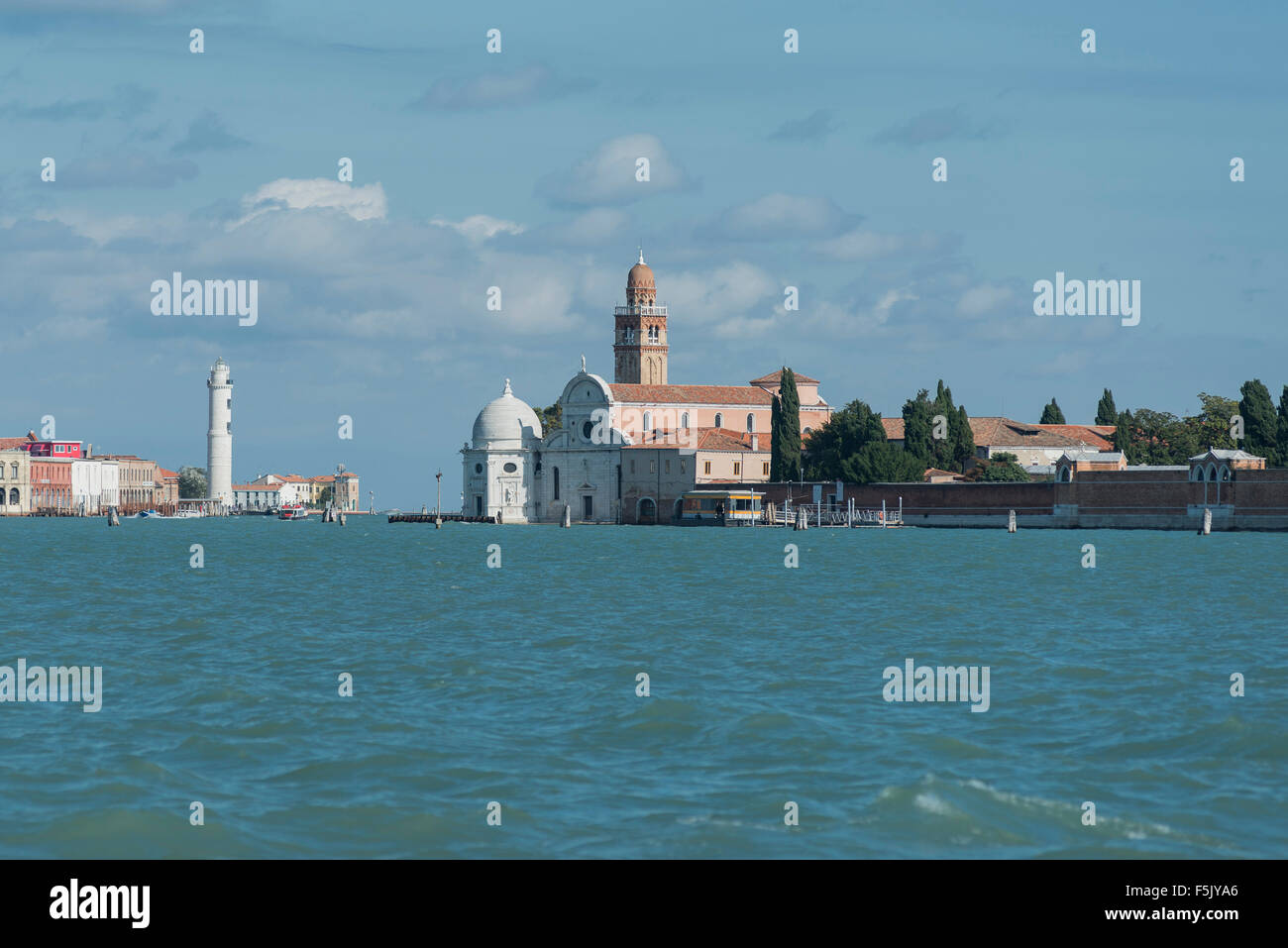 Cemetery island San Michele, San Michele in Isola church and hexagonal Cappella Emiliani, Murano lighthouse, Venetian - Stock Image