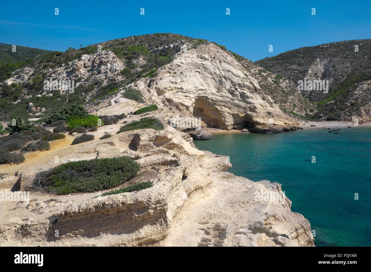 Fourni beach, Rhodes, Dodecanese, Greece - Stock Image