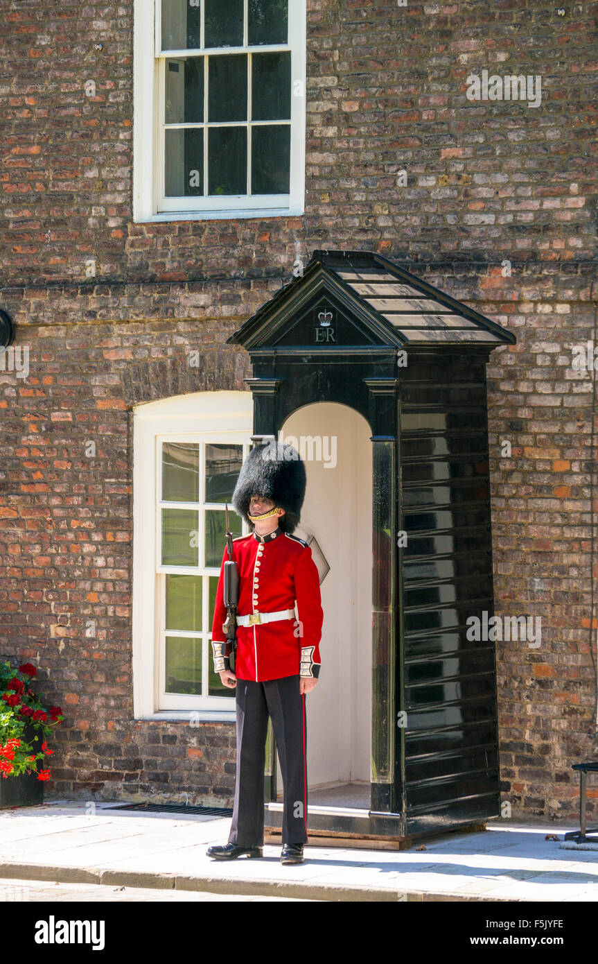 A coldstream guard on sentry duty inside tower of london City of London England UK GB EU Europe - Stock Image