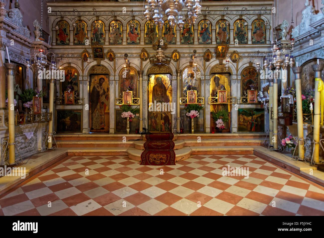 Greek Orthodox altar in the monastery church, monastery of Panagia Theotokos tis Paleokastritsas or Panagia Theotokos - Stock Image