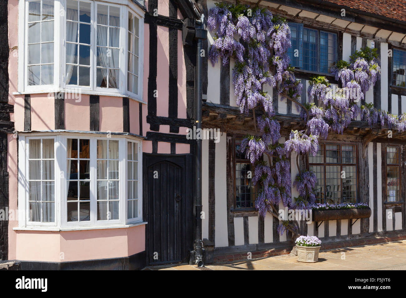 Half-timbered buildings in Lavenham, Suffolk - Stock Image
