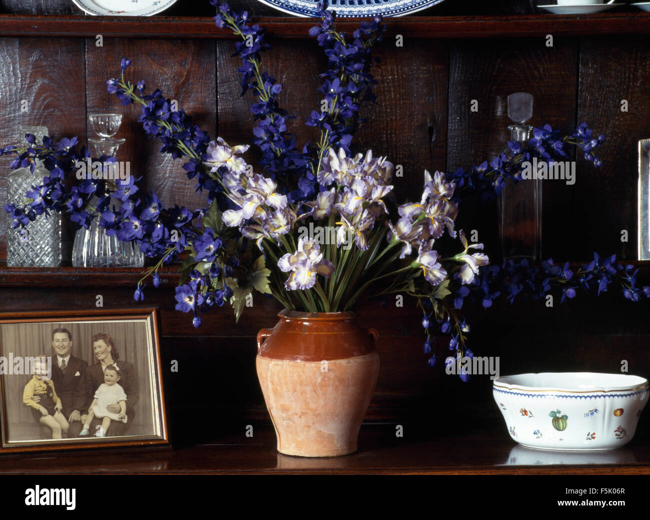Close-up of a shelf vase of blue delphiniums and old black+white photograph - Stock Image