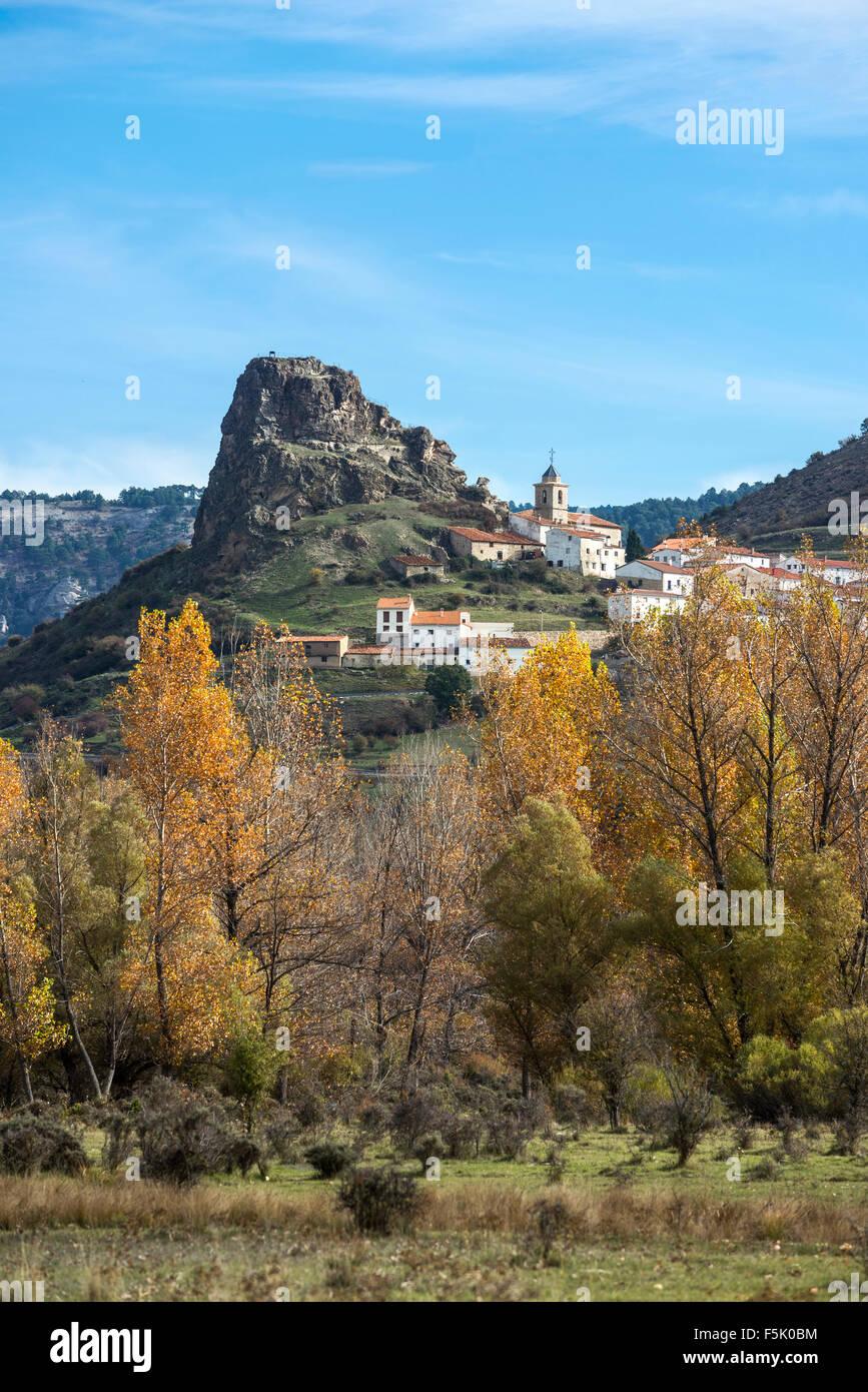 The village of  Huelamo in the Serrania de Cuenca, Castilla-la mancha, Central Spain - Stock Image