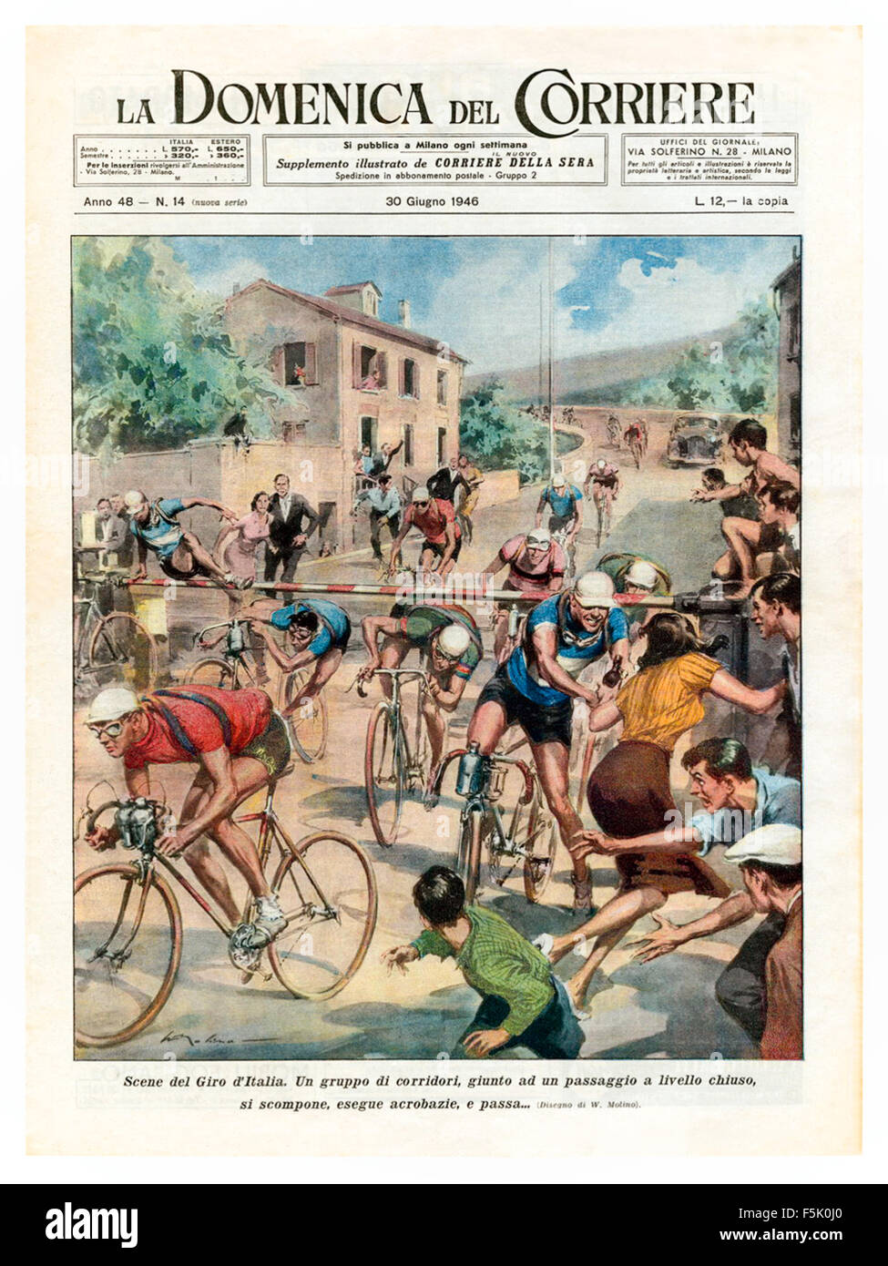 Front cover of 'La Domenica Del Corriere' 30 June 1946 featuring an illustration by Walter Molino (1915 - Stock Image