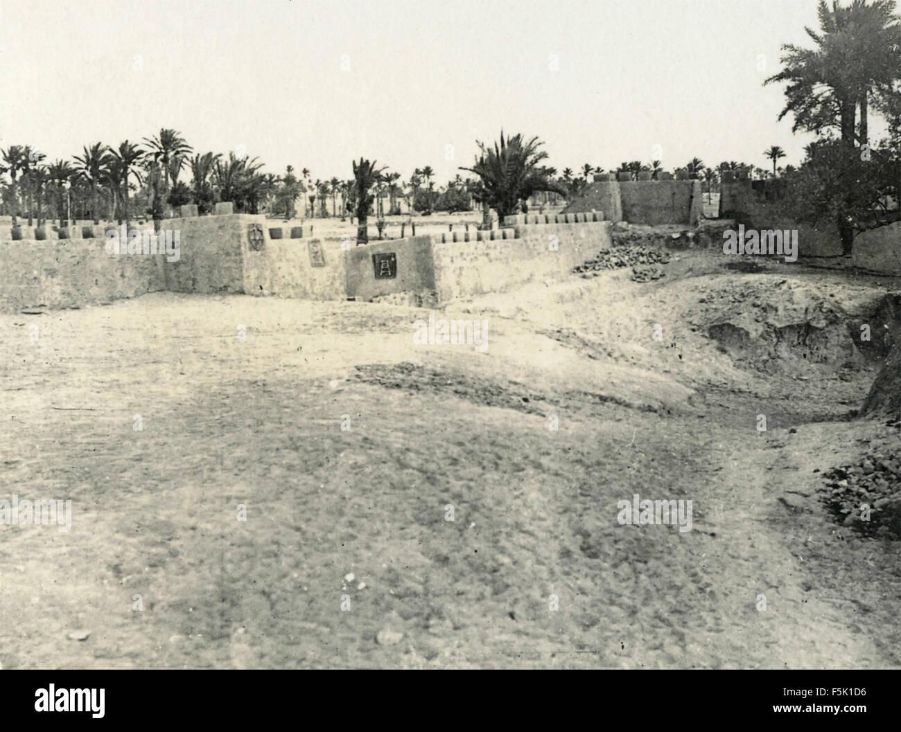 Trenches Italian colonial army , Misurata , Libya - Stock Image