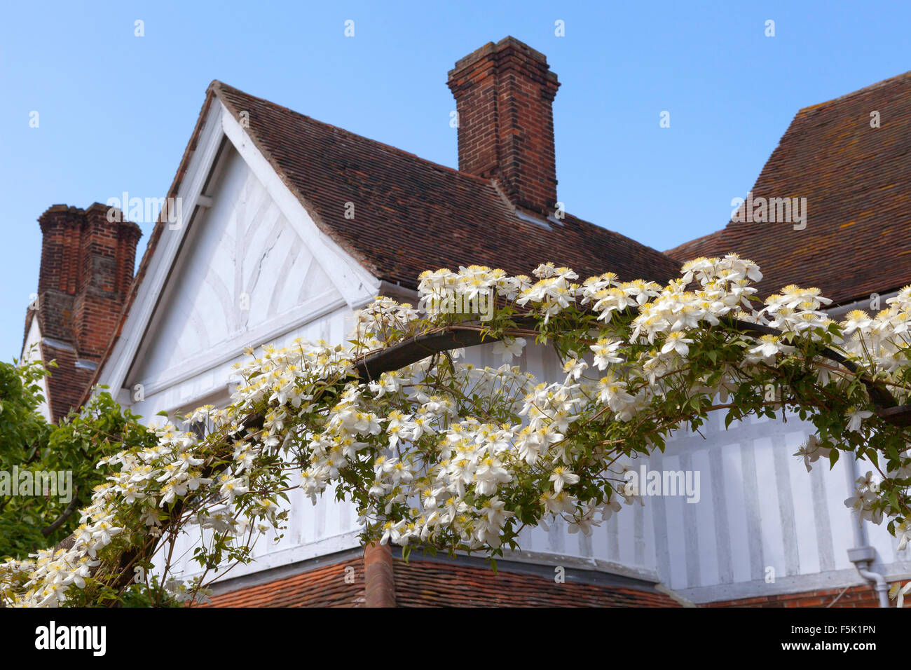 Floral arch in Lavenham, Suffolk - Stock Image
