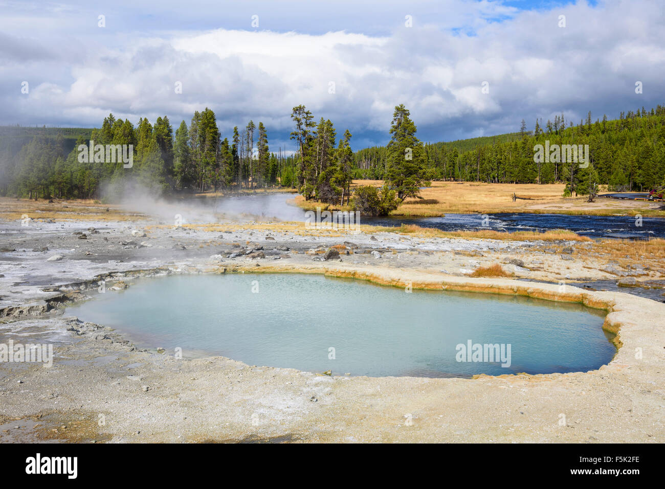 Black Opal Spring, Biscuit Basin, Yellowstone National Park, Wyoming, USA - Stock Image