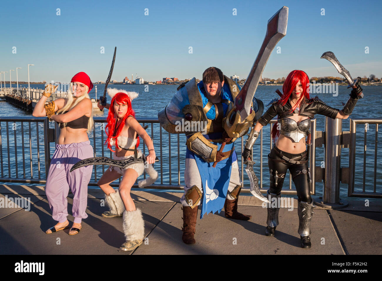 Detroit, Michigan - Cosplay at the Youmacon convention. Participants wear costumes to portray specific fictional - Stock Image