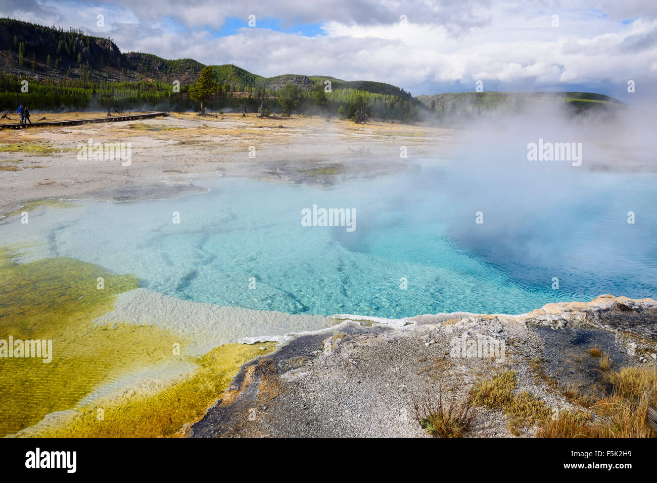Sapphire Pool, Biscuit Basin, Yellowstone National Park, Wyoming, USA - Stock Image