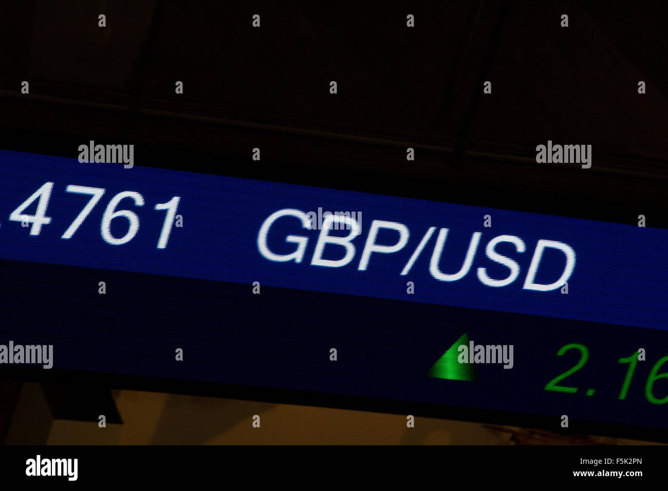 Display stock market charts on blue neon line with blurred office background-American / Britain currency rate - Stock Image