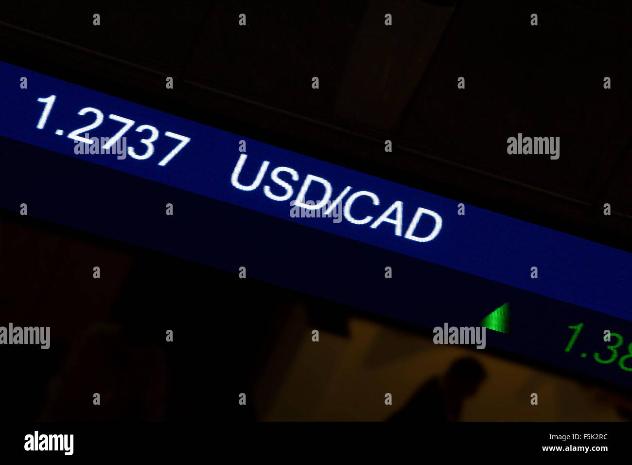 Display stock market charts on blue neon line with blurred office background, American / Canadian currency rate - Stock Image