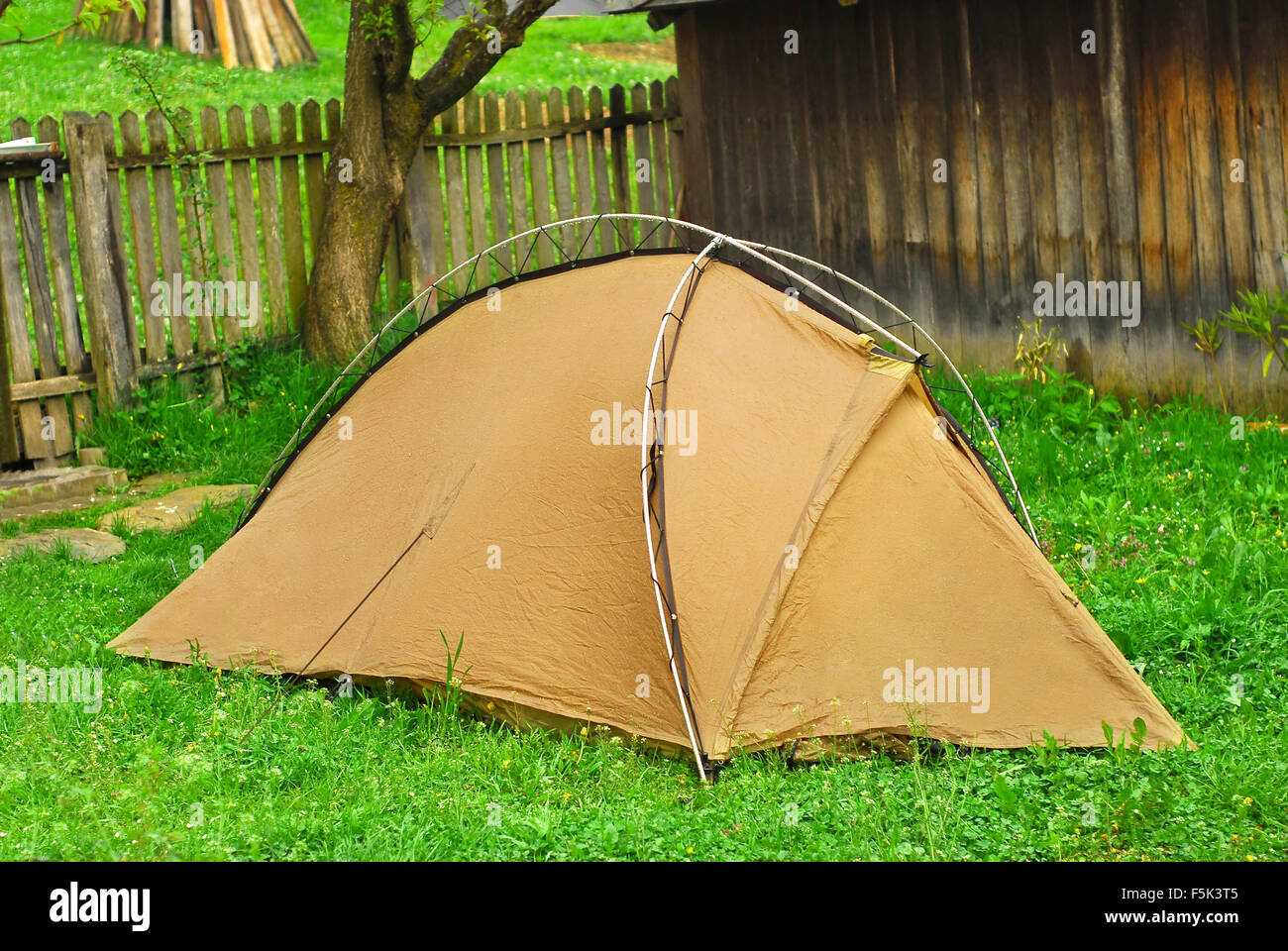 ecotourism, camping in the countryside - Stock Image