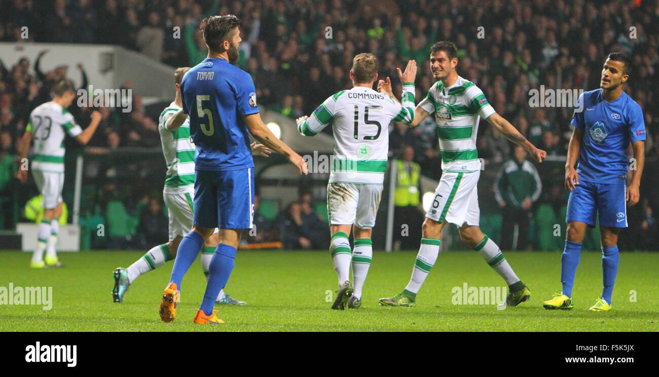 Glasgow, Scotland. 05th Nov, 2015. Europa League. Celtic versus Molde. Kris Commons celebrates his goal with Nir - Stock Image