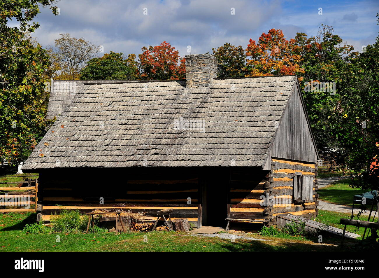 Lancaster, Pennsylvania:  Fachwerk two-room Log Cabin Farm home at the Landis Valley Village and Farm Museum * - Stock Image