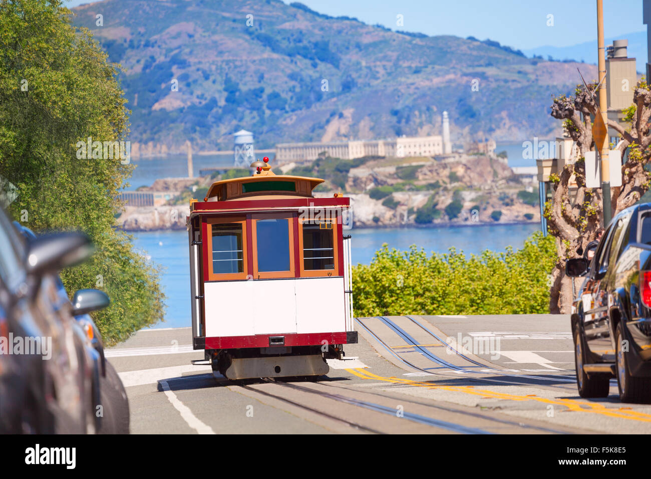 Hyde street and San Francisco tram during summer - Stock Image