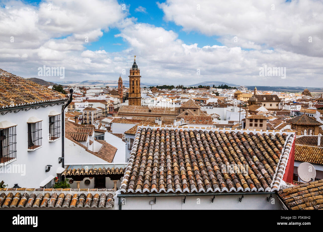 Spain, Andalusia, Province of Malaga, Antequera, view over the roofs of Antequera from the foot of the Alcazaba - Stock Image
