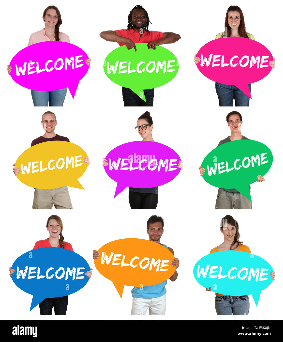 Refugees welcome group of young multi ethnic people with speech bubbles isolated Stock Photo