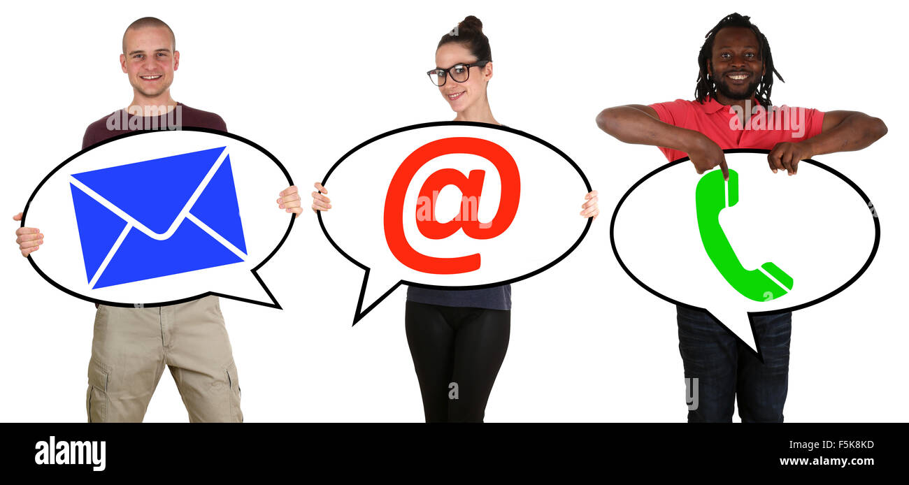Young people communication contact telephone, mail or e-mail online isolated - Stock Image