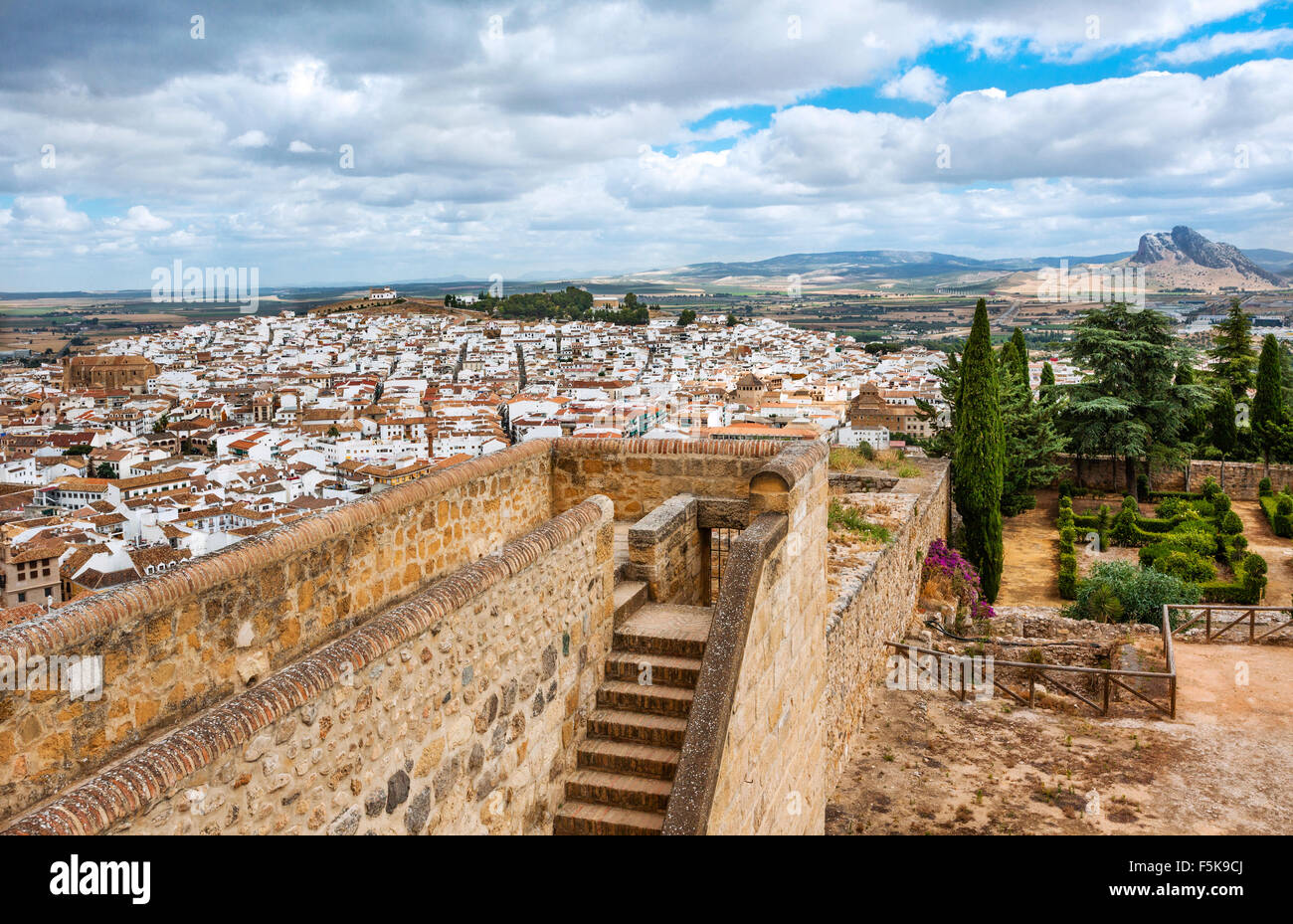 Spain, Andalusia, Province of Malaga, view of Antequera from the battlements of the Alcazaba citadel - Stock Image