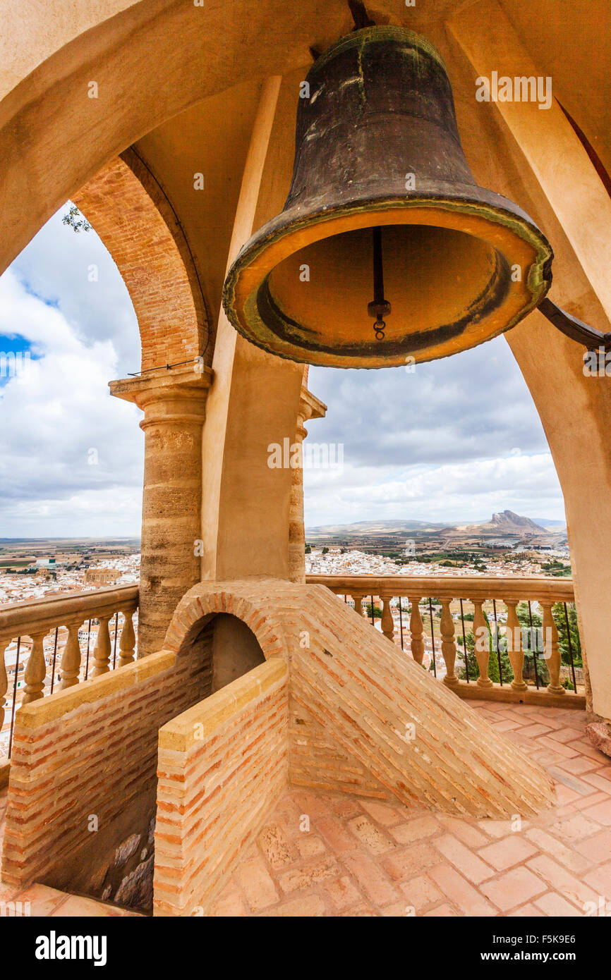 Spain, Andalusia, Province of Malaga, Antequera, Alcazaba, bell chamber in the pyramidal spire of Torre del Homenaje - Stock Image
