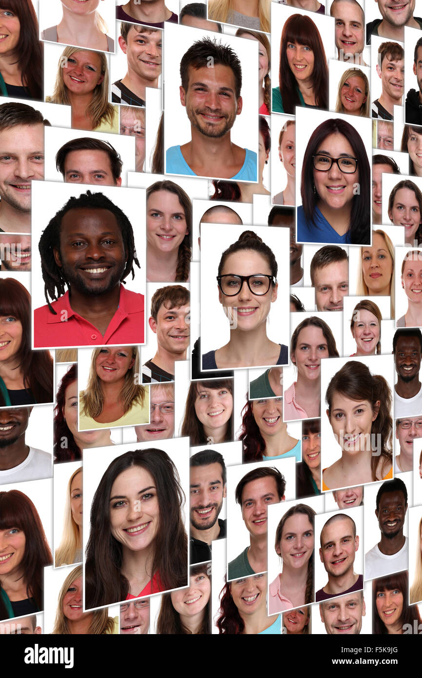 Background collage group portrait of multiracial young happy smiling people - Stock Image
