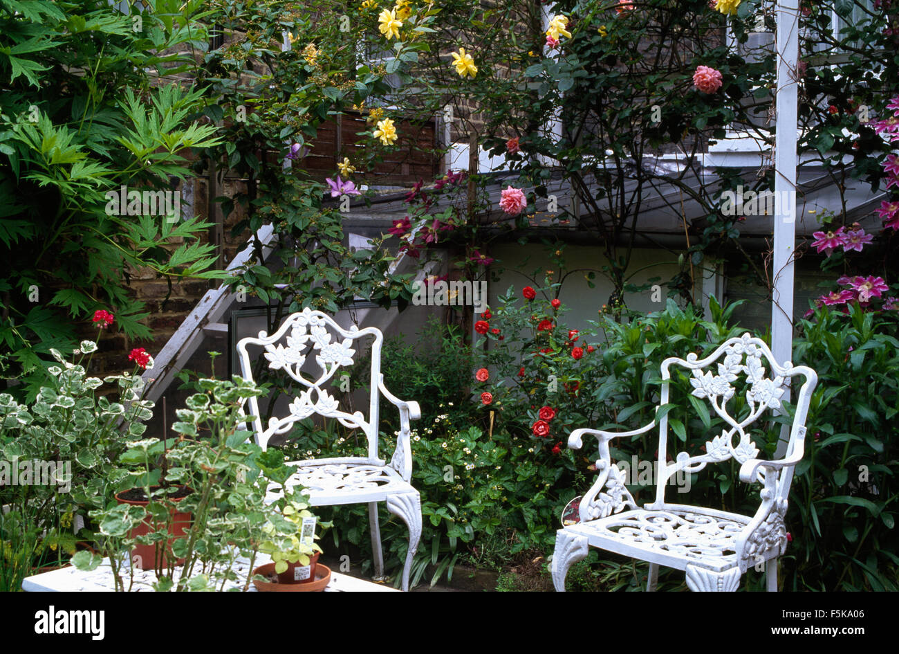 White Wrought Iron Chairs On Patio With Pink And Yellow
