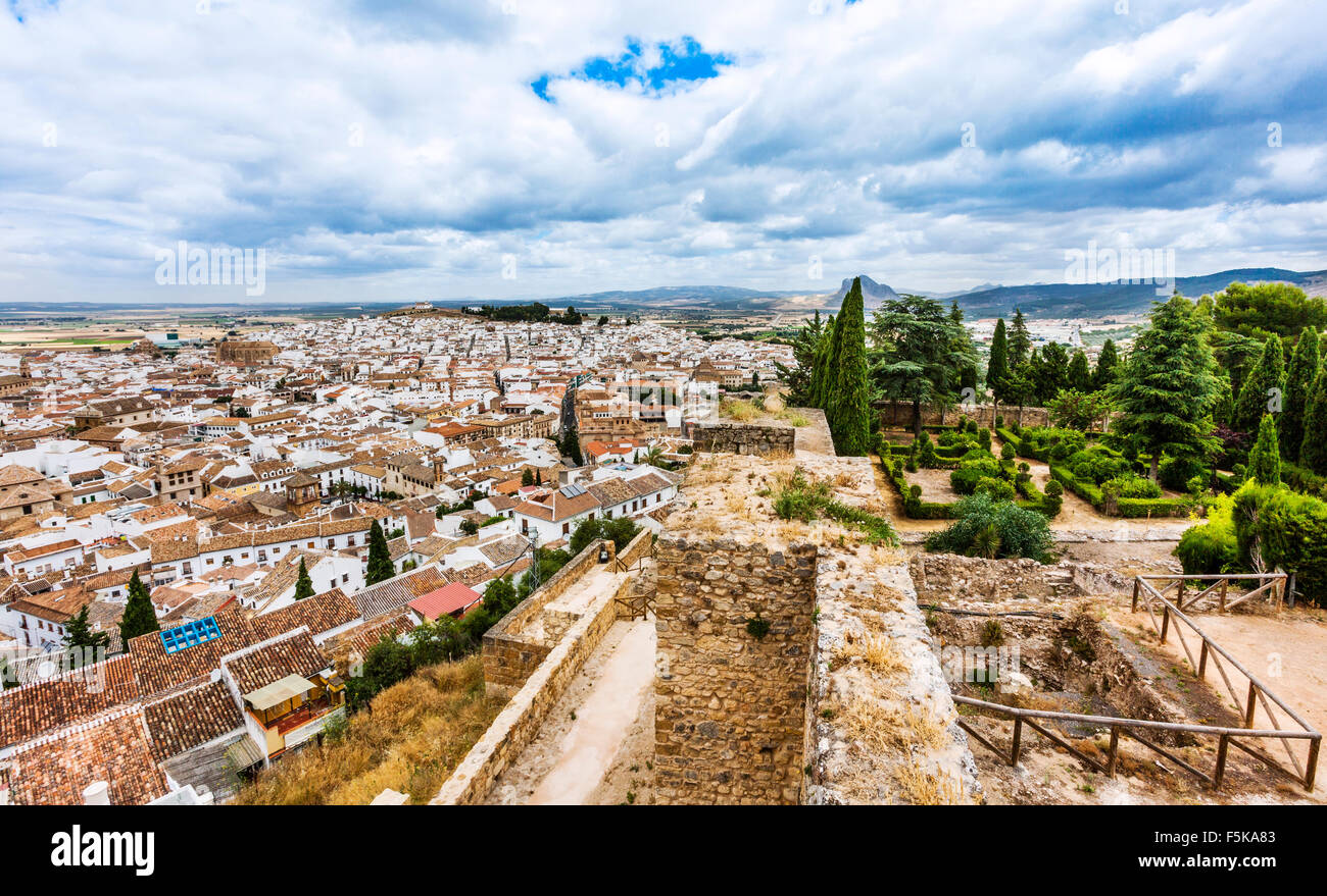 Spain, Andalusia, Province of Malaga, Antequera, view from the battlements of the Alczaba citadel. - Stock Image