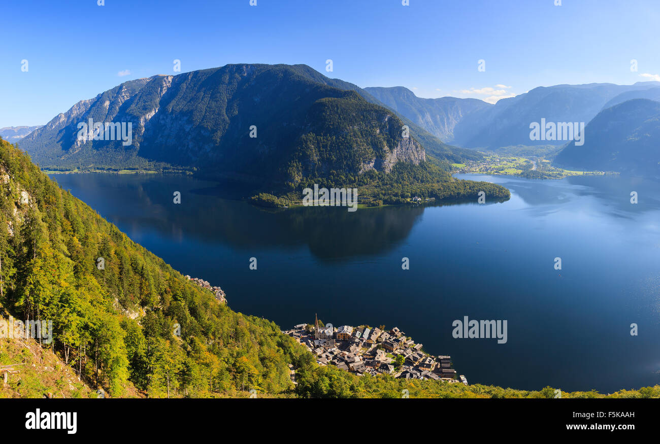 Aerial view on Hallstatt, in upper Austria is a village in the Salzkammergut, a region in Austria. - Stock Image