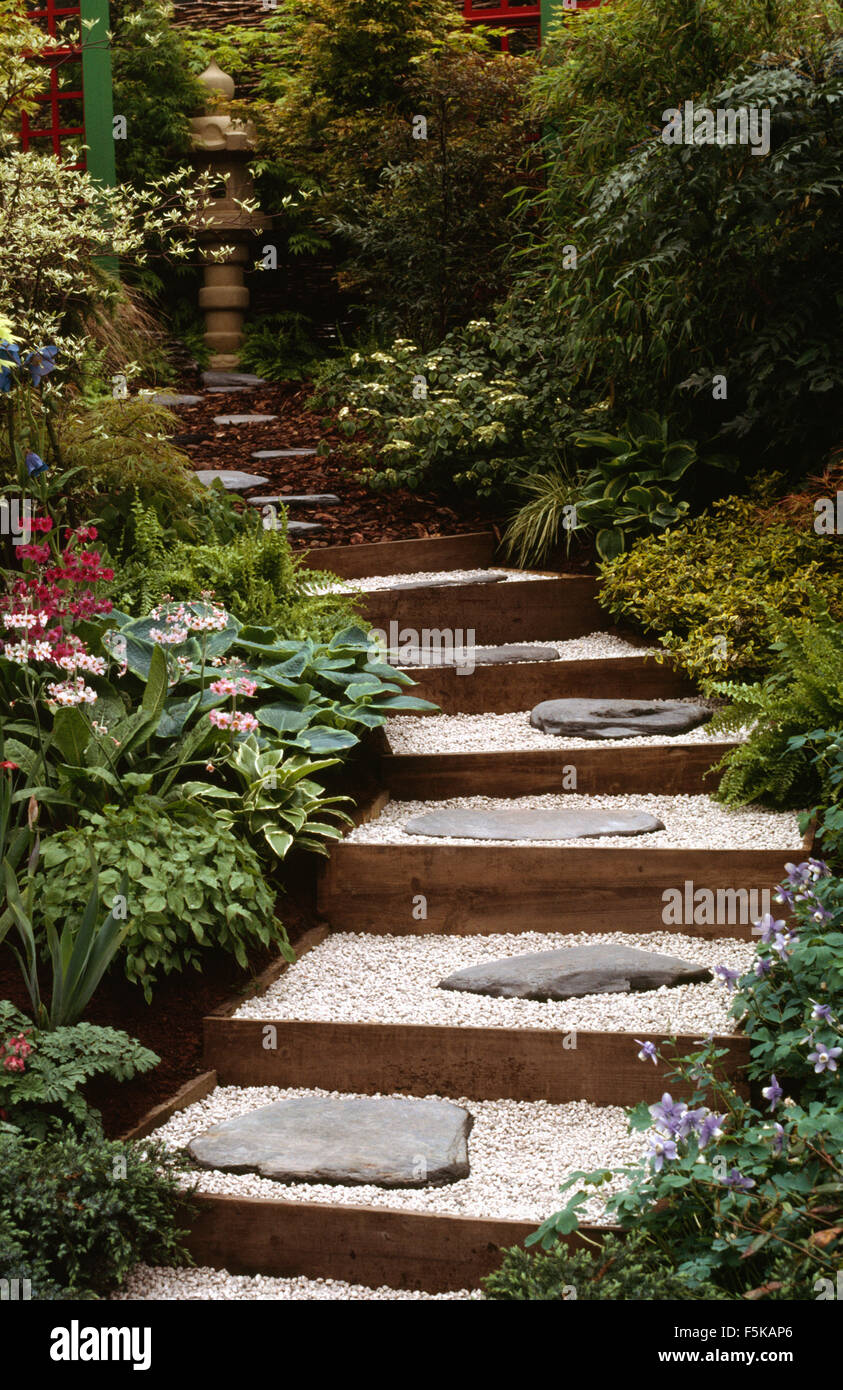 Slate Slabs On Gravel In Steps Between Neat Borders With Hostas And